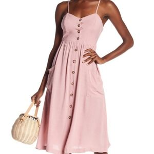 Good Luck Gem Button Front Midi Dress Baby Pink